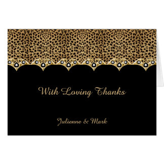 #2 Leopard Print Gold Diamonds Thank You Card