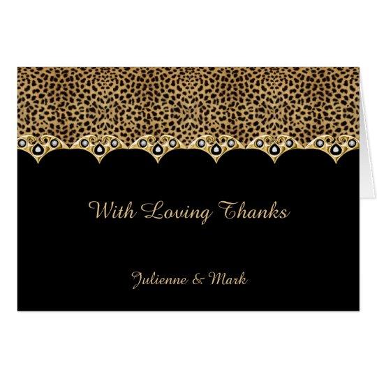 #2 Leopard Print Gold Diamonds Thank You Card
