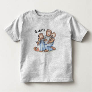 2 little buddies with their big buddy carpenter! toddler t-shirt