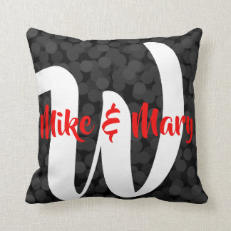 2 looks in 1 Pillow Name Monogram Black Bubbles