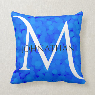 2 looks in 1 Pillow Name Monogram Blue Bubbles
