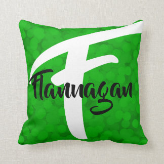 2 looks in 1 Pillow Name Monogram Green Bubbles