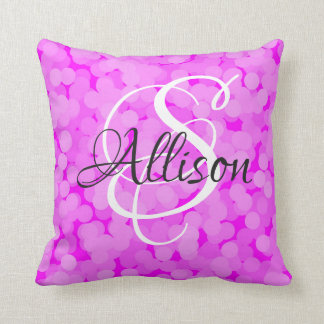 2 looks in 1 Pillow Name Monogram Pink Bubbles
