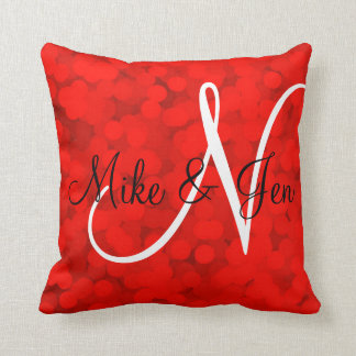2 looks in 1 Pillow Name Monogram Red Bubbles