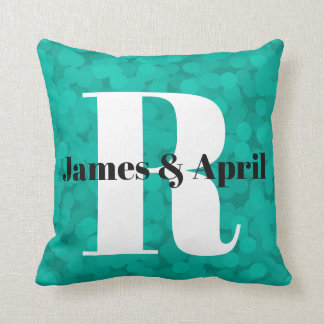 2 looks in 1 Pillow Name Monogram Teal Bubbles