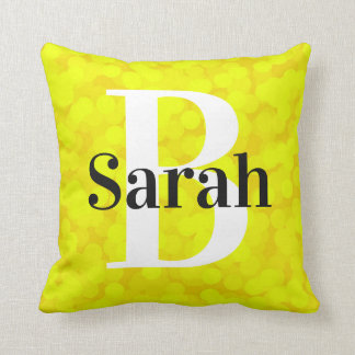 2 looks in 1 Pillow Name Monogram Yellow Bubbles