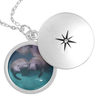 2 Manatee Friends silver plated necklace