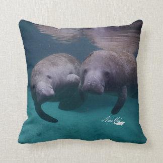 2 Manatee Friends throw pillow