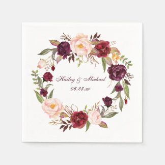 #2 Marsala Burgundy White Roses | Disposable Napkins