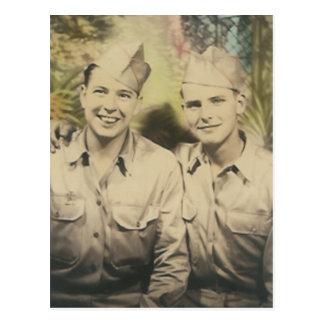 2 men in embrace post card