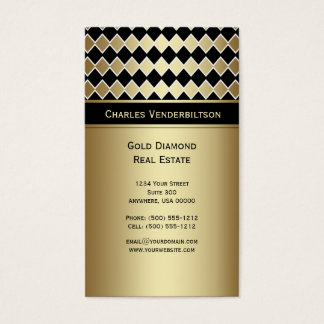 #2 Modern Black Gold Diamond Business Card