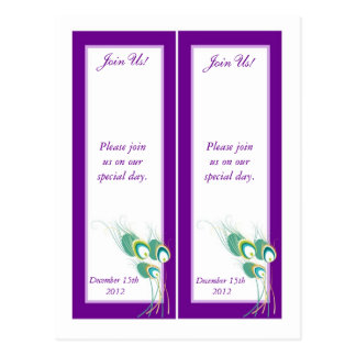 2 Modern Purple Peacock Save the Date Bookmarks Postcard