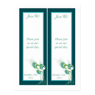 2 Modern Teal Peacock Save the Date Bookmarks Postcard