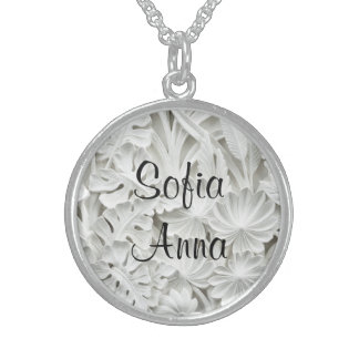 2 Name Sterling Silver Floral Pendant