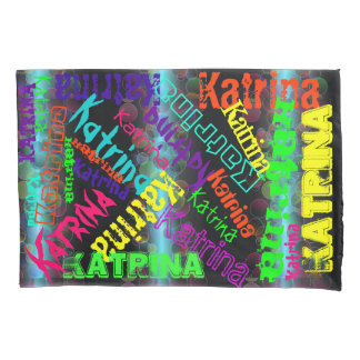 2 Neon Name Collage Pillow Cases Custom