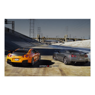 2 Nissan GT-R R35 in Downtown Los Angeles Poster