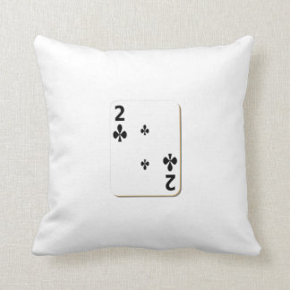 2 of Clubs Playing Card Throw Pillow