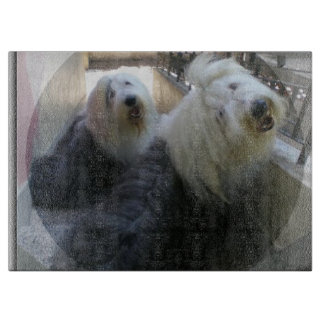2 old english sheepdogs cutting board