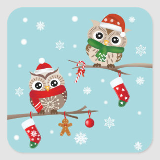 2 Owls on Christmas Branches Stickers