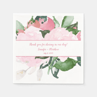 #2 Pale Pink Roses Green Leaves Reception | Napkin