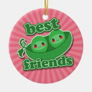 2 PEAS  BEST FRIENDS CERAMIC ORNAMENT