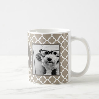2 Photo Collage - Taupe Quatrefoil and Monogram Classic White Coffee Mug