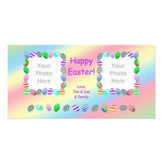 2 Photo Painted Easter Eggs Photo Card Template