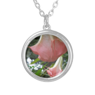 2 pink Angels trumpet flowers Silver Plated Necklace