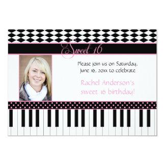 "#2 Pink Black Piano Theme Sweet 16 Birthday 5"" X 7"" Invitation Card"