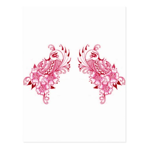 2 Pink Mehndi Henna peacock art Post Card