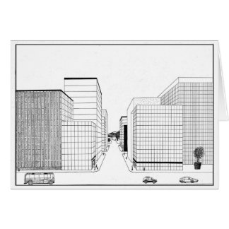 2 Point Perspective drawing of a city Black&White Greeting Card