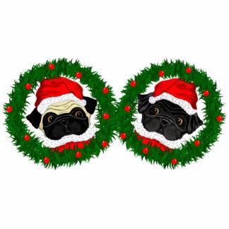 2 Pug Santas Standing Photo Sculpture