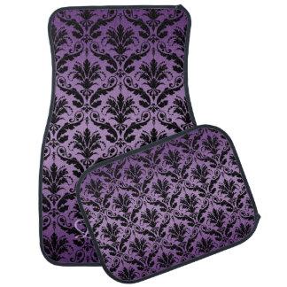 #2 Purple and Black Damask Monogram Car Mats