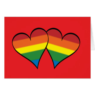 """2 Rainbow Hearts on Red - Wide - """"Roses..."""" Card"""