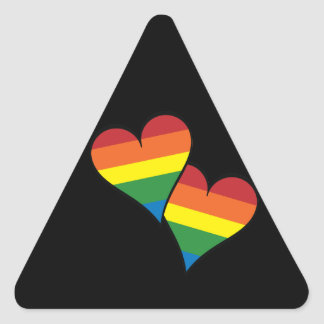 2 Rainbow Hearts Triangle Sticker