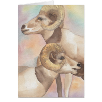 """2 Rams Watercolor Sketch/Arrowhead"" Greeting Card"