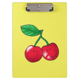 2 red cherries fruits clipboard