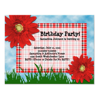2 Red Gerbera Daisies Birthday Party Invitations