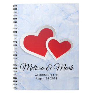 2 Red Hearts on Icy Blue Marble Wedding Plans Notebooks