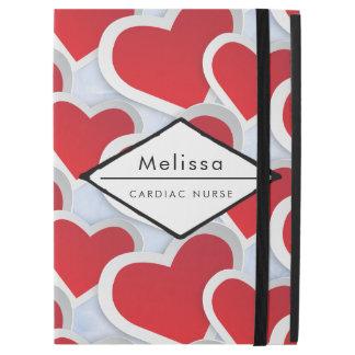 "2 Red Hearts Repeating Pattern Cardiac Nurse iPad Pro 12.9"" Case"