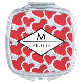 2 Red Hearts Repeating Pattern Cute Monogram Compact Mirror