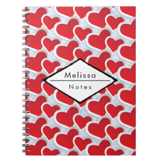 2 Red Hearts Repeating Pattern Cute Notebooks