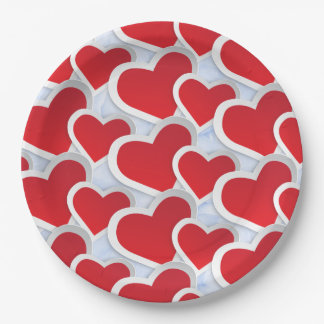 2 Red Hearts Repeating Pattern Cute Paper Plate