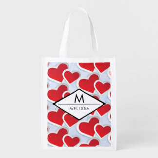 2 Red Hearts Repeating Pattern Cute Reusable Grocery Bag