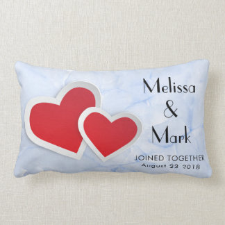 2 Red Paper Hearts on Icy Blue Marble Lumbar Pillow