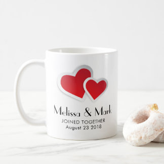 2 Red Paper Hearts on Icy Blue Marble Wedding Coffee Mug