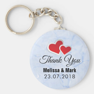 2 Red Paper Hearts on Icy Blue Marble Wedding Keychain