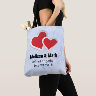 2 Red Paper Hearts on Icy Blue Marble Wedding Tote Bag