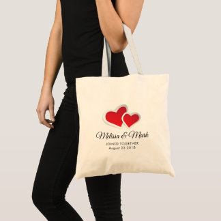 2 Red Paper Hearts Wedding Tote Bag