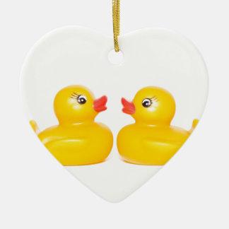 2 rubber ducks in love ceramic heart ornament